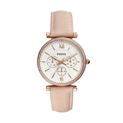 fossil Carlie Multifunction Rose Gold-Tone Leather Watch ES4544