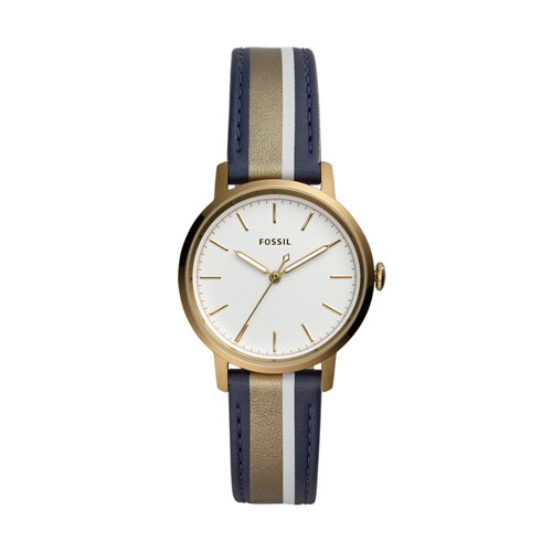 fossil Neely Three-Hand Antique Gold-Tone Leather Watch ES4549