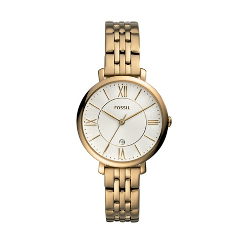 fossil Jaqueline Three-Hand Antique Gold-Tone Stainless Steel Watch ES4552