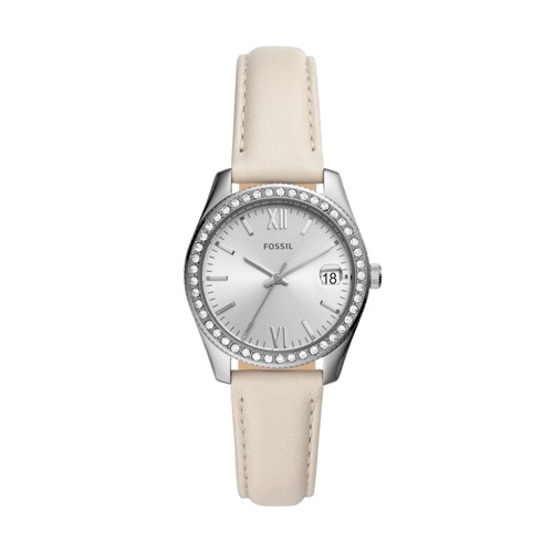 fossil Scarlette Mini Three-Hand Date Winter White Leather Watch ES4555