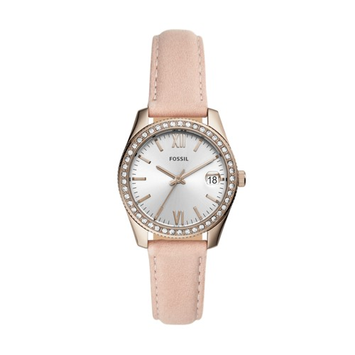 fossil Scarlette Mini Three-Hand Date Blush Leather Watch ES4557