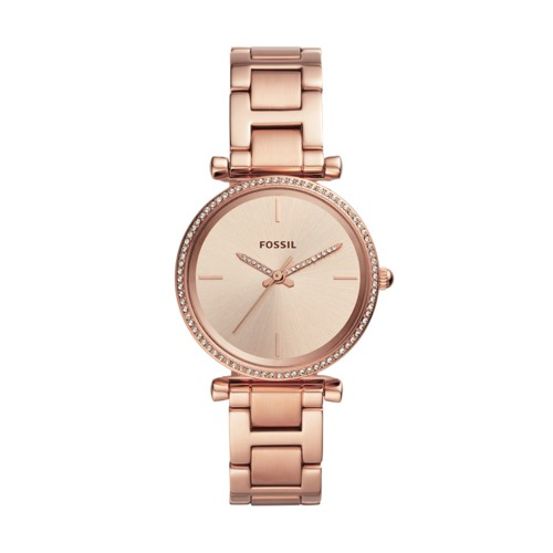 fossil Carlie Three-Hand Rose Gold-Tone Stainless Steel Watch ES4558