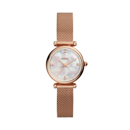 fossil Carlie Mini Three-Hand Rose Gold-Tone Stainless Steel Watch ES4566