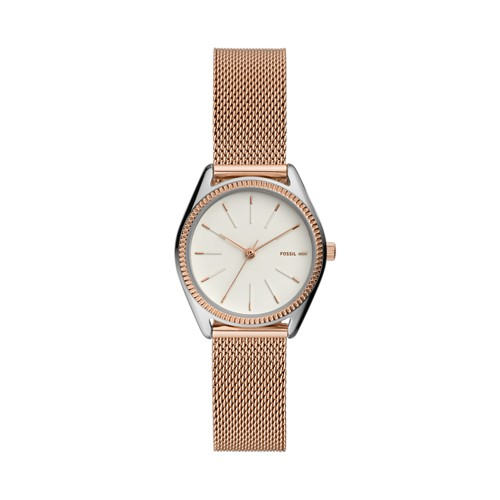 fossil Devyn Three-Hand Rose Gold-Tone Stainless Steel Watch ES4573