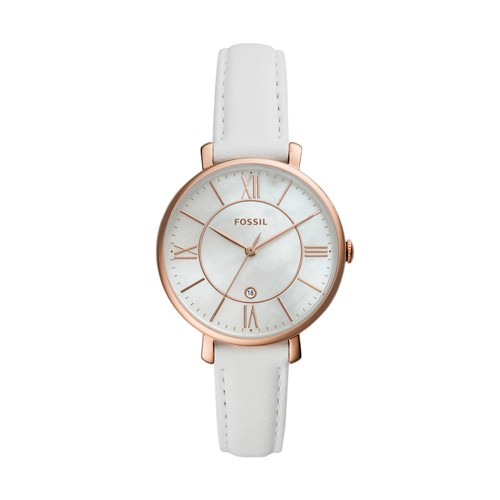 Jacqueline Three-Hand Date White Leather Watch ES4579