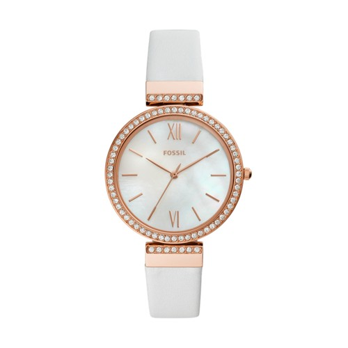 Madeline Three-Hand White Leather Watch ES4581