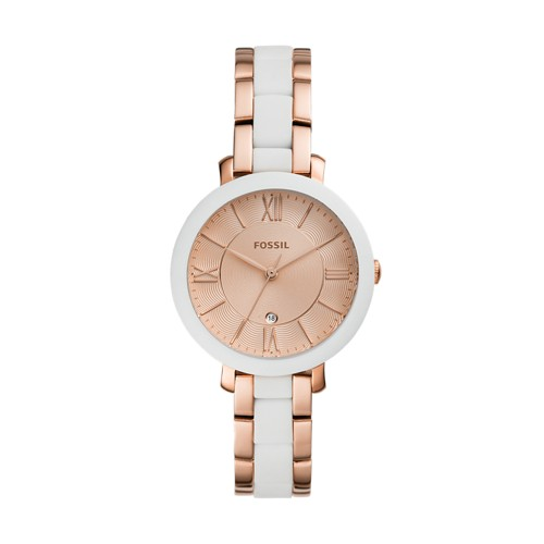 fossil Jacqueline Three-Hand Date Rose Gold-Tone Stainless Steel Watch ES4588