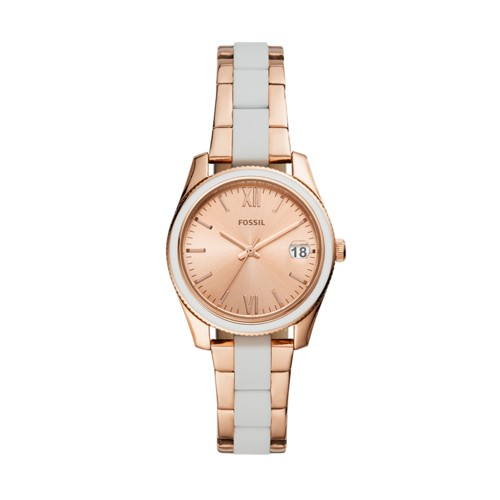 fossil Scarlette Mini Three-Hand Date Rose Gold-Tone Stainless Steel Watch ES4589