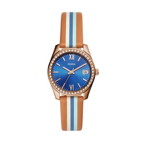fossil Scarlette Mini Three-Hand Date Striped Tan Watch ES4591