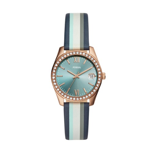 fossil Scarlette Mini Three-Hand Date Striped Navy Leather Watch ES4592