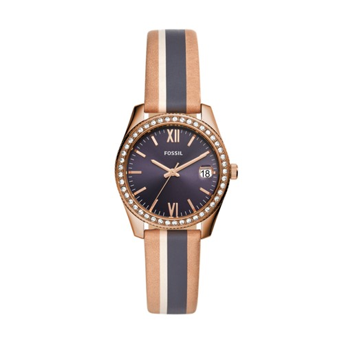 Scarlette Mini Three-Hand Date Striped Sand Leather Watch ES4594