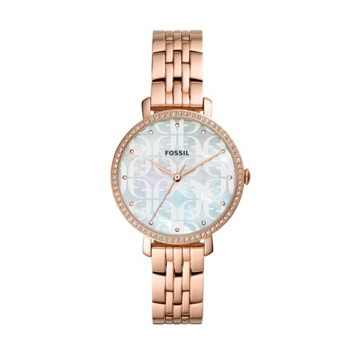 fossil Jacqueline Three-Hand Rose Gold-Tone Stainless Steel Watch ES4602