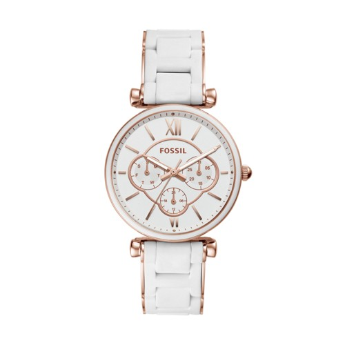 fossil Carlie Multifunction Rose Gold-Tone Stainless Steel Watch ES4606