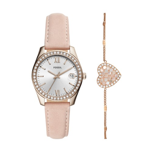 fossil Scarlette Mini Three-Hand Date Blush Leather Watch and Bracelet Box Set ES4607SET