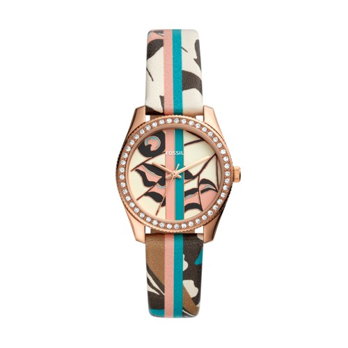 fossil Scarlette Mini Three-Hand Striped Pattern Leather Watch ES4609