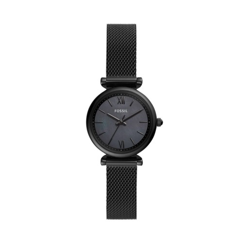 fossil Carlie Mini Three-Hand Black Stainless Steel Watch ES4613