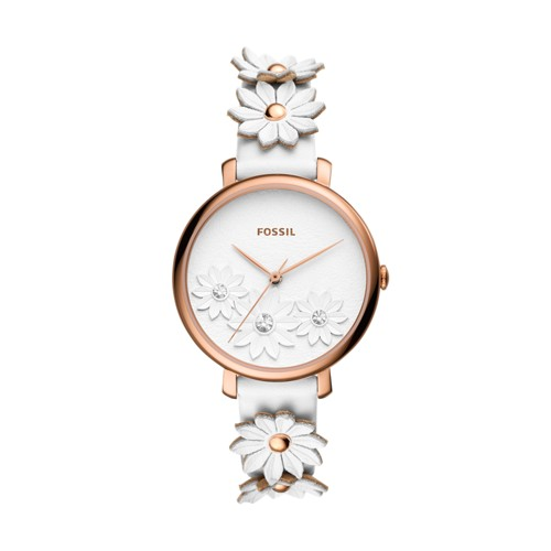 fossil Jacqueline Three-Hand White Leather Watch ES4615