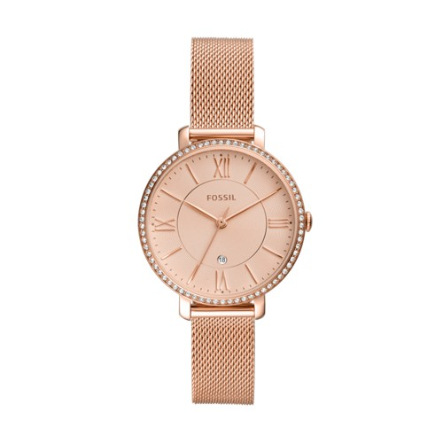 fossil Jacqueline Three-Hand Date Rose Gold-Tone Stainless Steel Watch ES4628