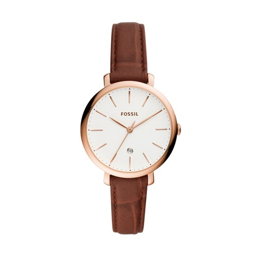 Fossil Jacqueline Three-Hand Date Brown Leather Watch  jewelry