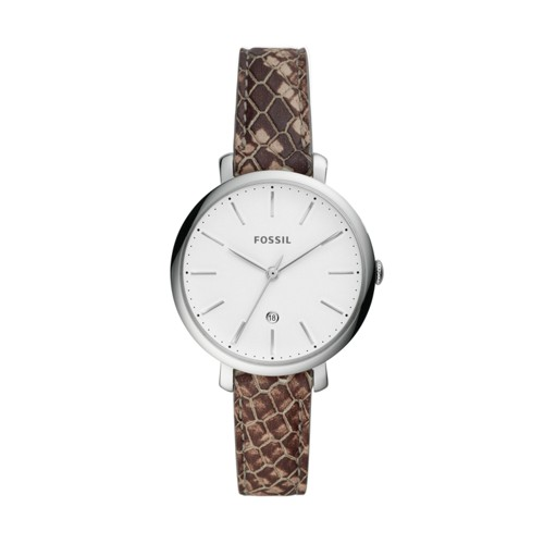 Jacqueline Three-Hand Date Gray Leather Watch ES4631