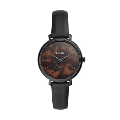 fossil Jacqueline Three-Hand Date Black Leather Watch ES4632