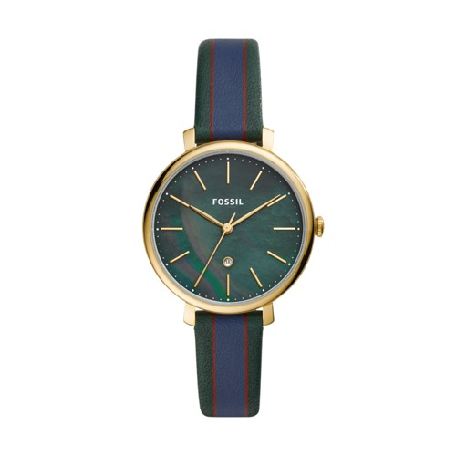 fossil Jacqueline Three-Hand Date Dark Green Leather Watch ES4633