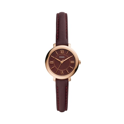 Jacqueline Mini Three-Hand Fig Leather Watch ES4634