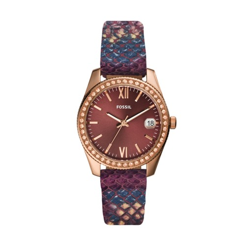 Scarlette Mini Three-Hand Date Fig Leather Watch ES4637