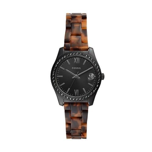 Scarlette Mini Three-Hand Date Tortoise Acetate Watch ES4638
