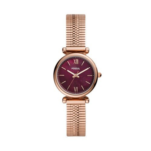 fossil Carlie Mini Three-Hand Rose Gold-Tone Stainless Steel Watch ES4646