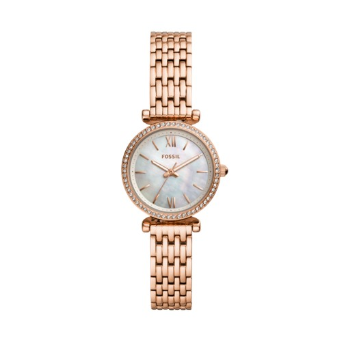 fossil Carlie Mini Three-Hand Rose Gold-Tone Stainless Steel Watch ES4648
