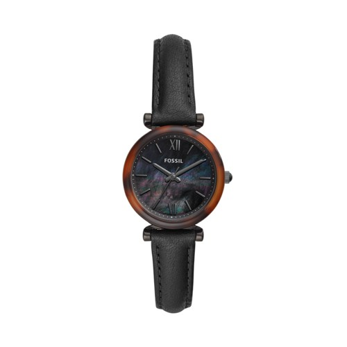 Fossil Carlie Mini Three-Hand Black Leather Watch  jewelry