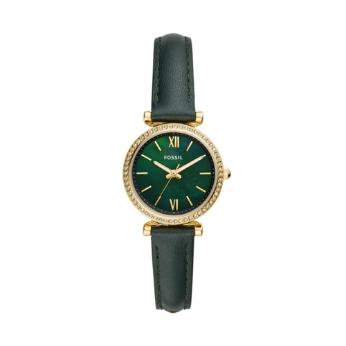 Carlie Mini Three-Hand Dark Green Leather Watch ES4651