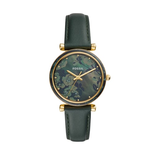 fossil Carlie Three-Hand Dark Green Leather Watch ES4654