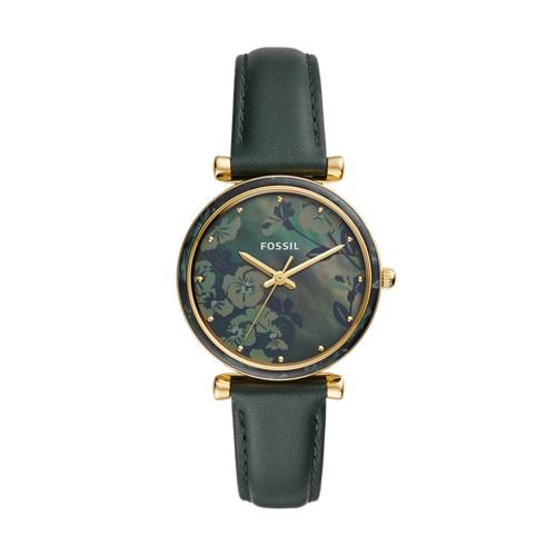 fossil Carlie Three-Hand Dark Green Leather Watch ES4654