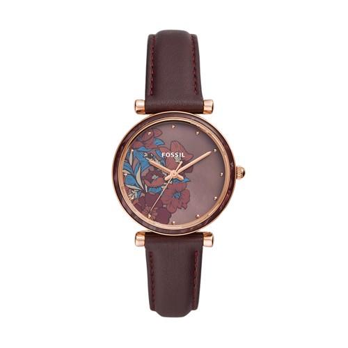 fossil Carlie Three-Hand Fig Leather Watch ES4655