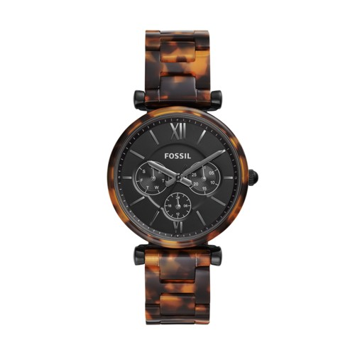 Fossil Carlie Multifunction Tortoise Acetate Watch  jewelry