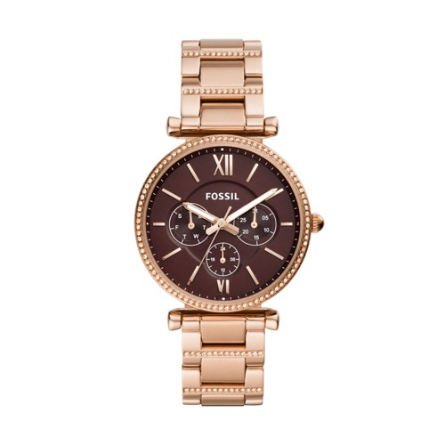 fossil Carlie Multifunction Rose Gold-Tone Stainless Steel Watch ES4660