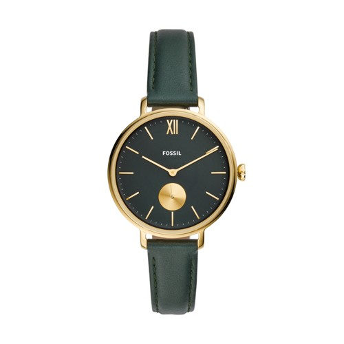 Kalya Three-Hand Dark Green Leather Watch ES4662