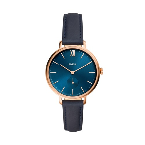 fossil Kalya Three-Hand Navy Leather Watch ES4663