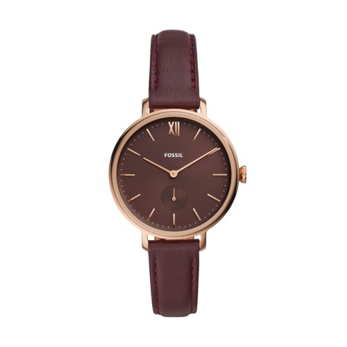 Kalya Three-Hand Fig Leather Watch ES4665