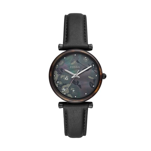 Carlie Three-Hand Black Leather Watch ES4668