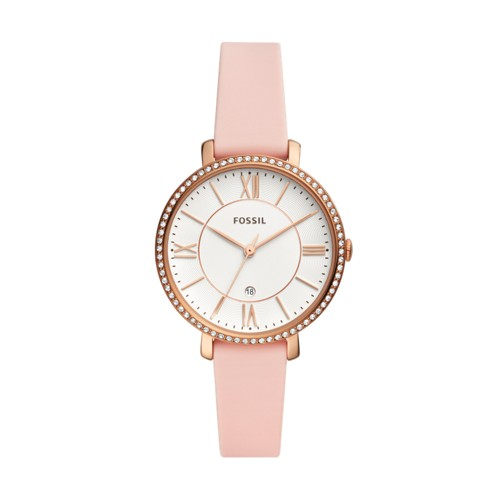 Jacqueline Three-Hand Date Blush Silicone Watch ES4670