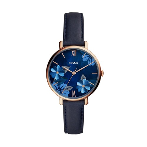 fossil Jacqueline Three-Hand Navy Leather Watch ES4673