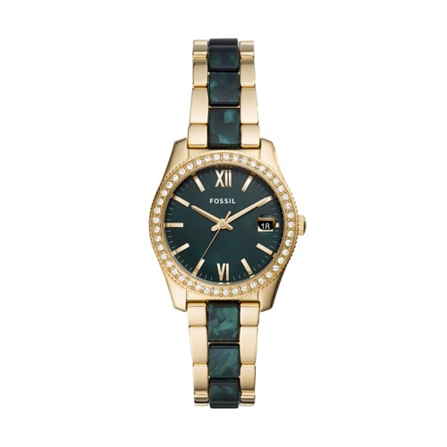 Scarlette Mini Three-Hand Date Two-Tone Acetate and Stainless Steel Watch ES4676