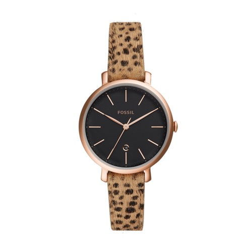 fossil Jacqueline Three-Hand Date Faux Cheetah Hair Leather Watch ES4681