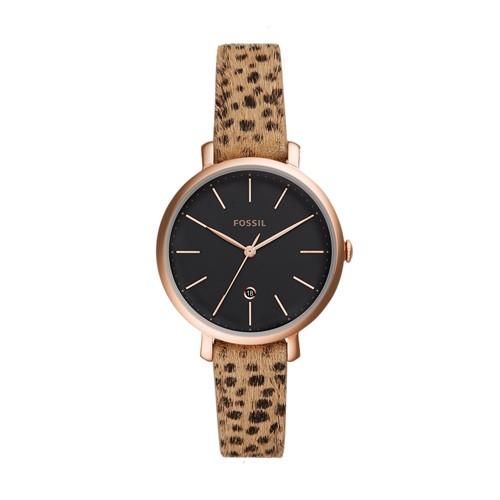 Jacqueline Three-Hand Date Faux Cheetah Hair Leather Watch ES4681