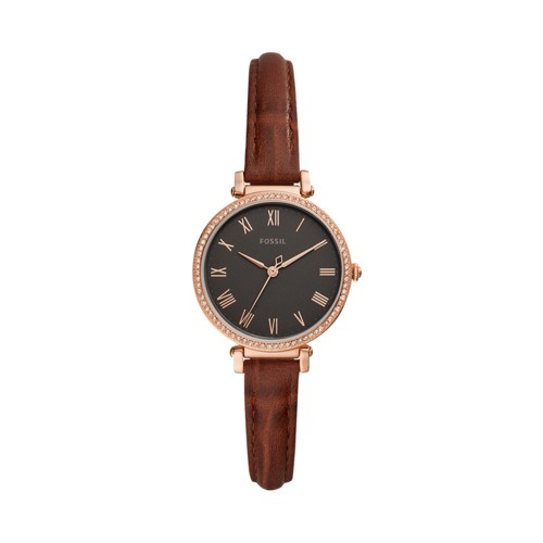 Kinsey Three-Hand Brown Leather Watch ES4682