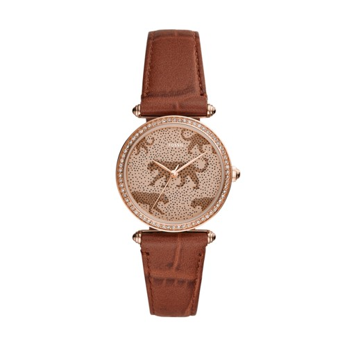 Lyric Three-Hand Brown Leather Watch ES4683