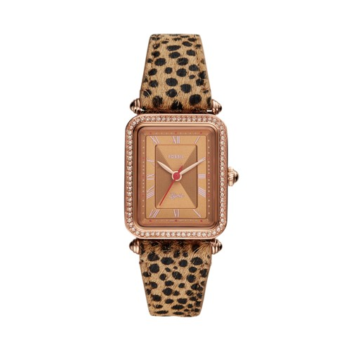 Lyric Three-Hand Faux Cheetah Hair Leather Watch ES4684